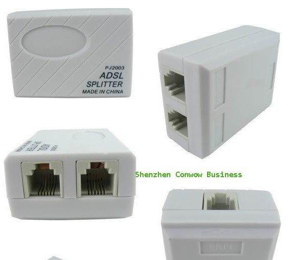 30pcs/lot, wholesales,1 x 2 Phone Telephone ADSL Modem RJ11 Line Splitter Filter, telephone adapter+ Free Shipping