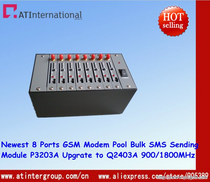 Free Shipping Dual-band 8 Ports GSM/GPRS Modem With Cheapest Chipset P3203A Upgrade to Q2403A