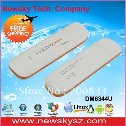 Hot Sale!!! 7.2M USB 3G Modem DM6344U For Android Tablet PC Hongkong Post Free Shipping Support USSD Voice Call TF Card