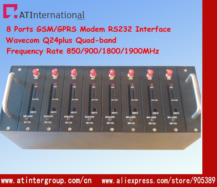 Wavecom Q24plus 8 ports Modem Pool with RS232 Interface Frequency Rate 850/900/1800/1900MHz