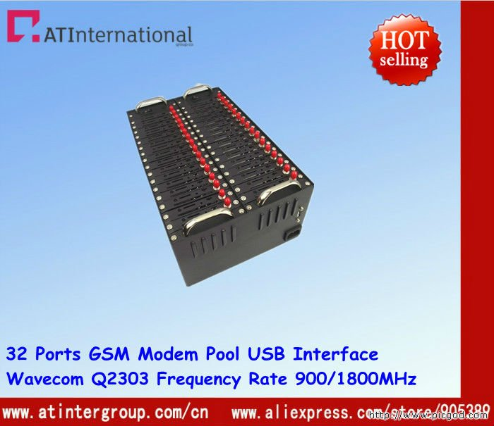 32 Ports Wavecom Q2303 GSM Modem Pool USB Interfae Dual-band 900/1800MHz