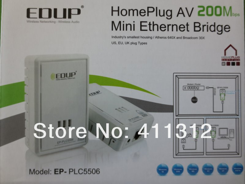 EDUP EP-PLC5506 200Mbps Starterkit PowerLine Network Electric Power Adapter Link Ethernet Homeplug free shipping