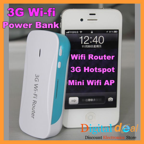 Wireless 3G Wifi Router 4000mah Power Bank for iPhone/iPad/iPod 3G Hotspot Support Flow sharing