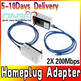 2X 200Mbps Mini Powerline Homeplug Adapter AV Network Starter Kit Bridge Extender Ethernet Cable Free shipping