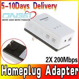 Wholesale 2X 200Mbps Mini Powerline Homeplug Adapter AV Network Bridge Extender Ethernet 3pcs/lot