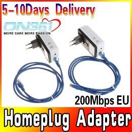 2X 200Mbps Mini Powerline Homeplug Adapter AV Network Starter Kit Bridge Extender Ethernet Cable EU Plug