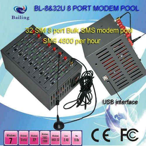 BL-8&32U IMEI changing 8 port 32 sim modem pool automatically SWITCH cards