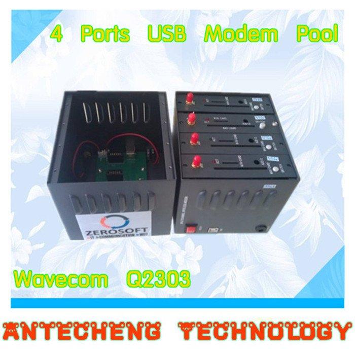 GSM Wavecom Q2303 USB 4 Ports Modem Pool Bulk SMS Sending 900/1800MHz