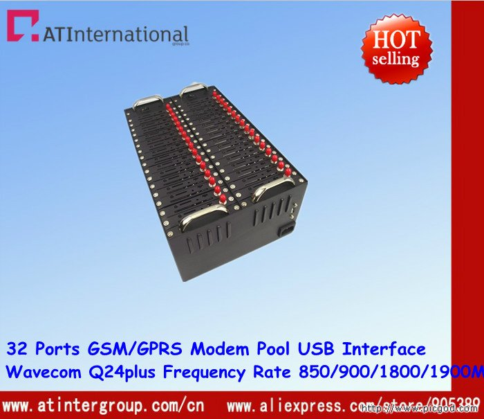 32 Ports Wavecom Q24plus GSM/GPRS Modem Pool USB Interface quad-band 850/900/1800/1900MHz