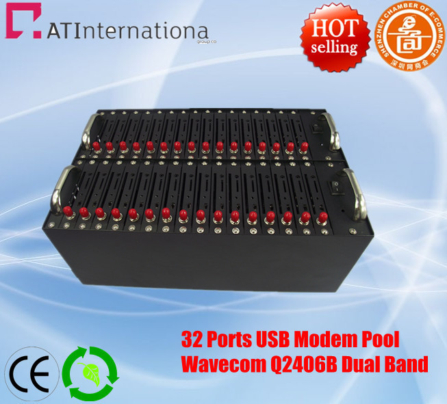 32 Ports Wavecom Q2406B GSM/GPRS Modem Pool Bulk SMS/MMS AT Command 900/1800MHz Stable Quality