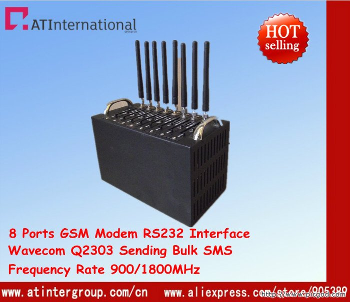 8 Ports GSM Modem pool With Q2303 Module RS232 Interface