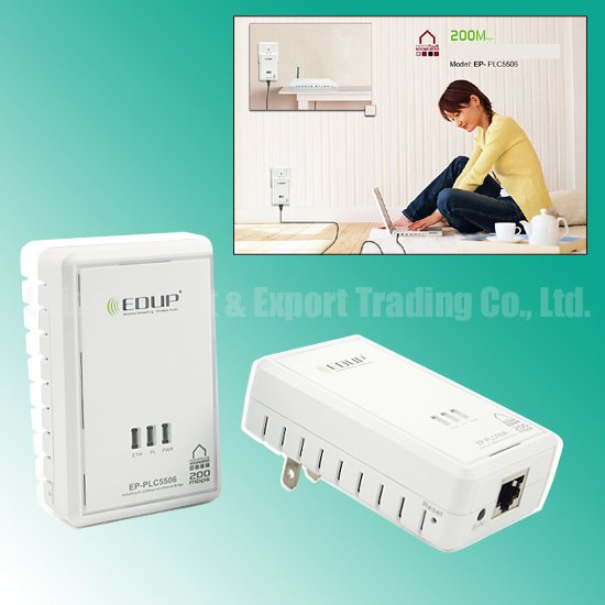 FREE Shipping 200Mbps Original EDUP Powerline Adapter Network Homeplug Wireless Ethernet Wholesale/Retail