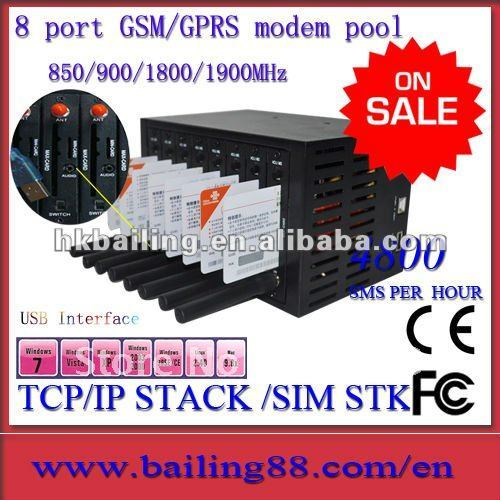 Low cost gsm gprs 8 port modem pool with STK and TCP/IP stack quad band