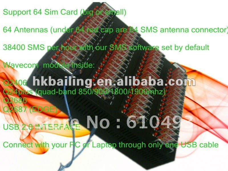 Bulk GSM GPRS SMS Machine Support 64 Sim Cards,Wavecom Q2403,free shipping!from professional manufacturer (BAILING)