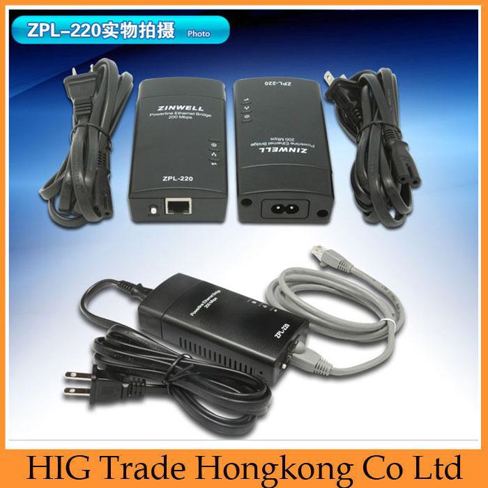 ZINWELL ZPL-220 Powerline 200M Ethernet Bridge Adapter, Homeplug Poweline Ethernet adapter, with ZPL-254,ZPL-210,ZPL-203