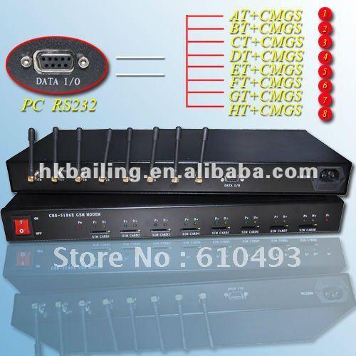 8 port modem with 1U standart rack mount,for bulk sms sending(P5186)