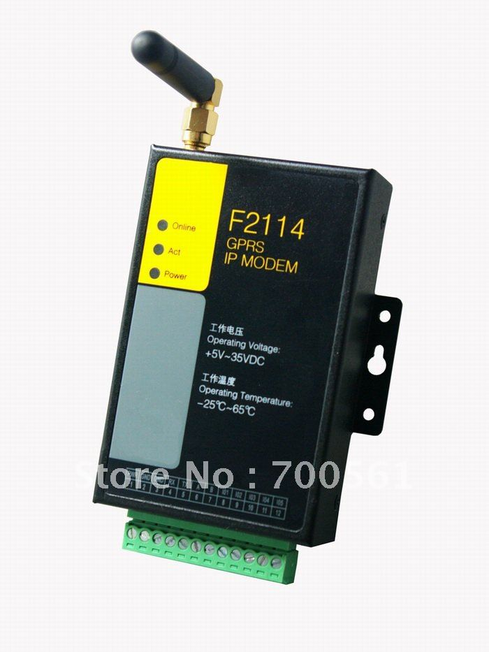 support RS232/RS485 F2114 Industrial gprs modem with I/O channels