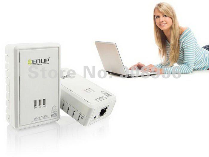 200Mbps Original EDUP PLC5506  Powerline Power Line Network Adapter Starter Kit Plug Ethernet Adapter Homeplug x2