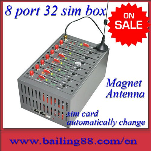 8 port 32 sim gsm sim box for Group mms and landline call