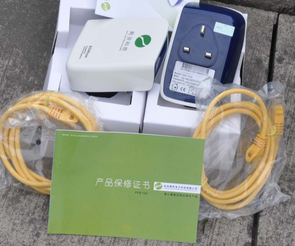 Free Shipping !!! Three Pin UK flat  plug  85Mbps rj45 power line communication